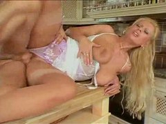 Curvy natural milf screwed in her kitchen