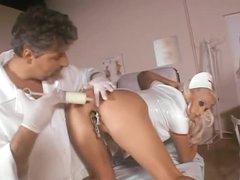 Giant milk enema followed by nurse anal sex