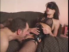 Blindfolded doxy in corset licked and fucked