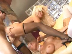 Golden-haired milfs with fake pointer sisters in nylons have threesome
