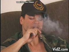 Hot military man smokes and gets cock sucked