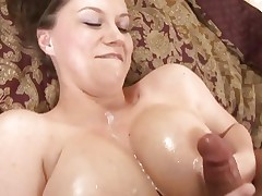 Large titted Sara Stone gets her melons glazed with hot cum