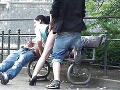 Public 3some sex on the street Excellent