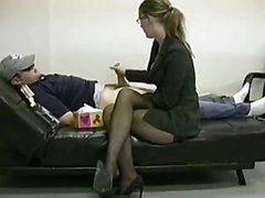 Lady boss masturbates her slothful employee to ignite him to work