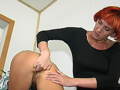 Redhead lesbo playgirl fingering taut butt previous to strap-on screwing on floor