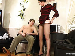 Lewd lady-boss willing to give a raise after hot muff-diving through her pantyhose
