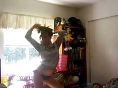 Sexy teen blond with priceless body and darksome bikini stripping and dancing for the camera and our joy