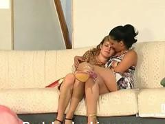 Astonishing lesbo hotties surrender to vigorous gazoo-ramming with rubber sex tool
