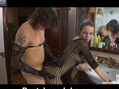 Teasing honey in a watch-thru bodystocking luring her dude into hose sex