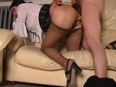 Lascivious playgirl savoring fervent muff massage with her silky hose on