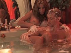 Couple have a joy erotic bath time soapy massage