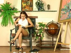 Busty youthful babe calling up an old plumber to fix her dripping moist cum-hole