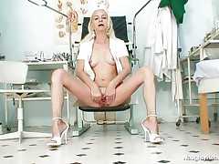 Cuz this babe is all alone in the office and has no thing to do, this gilf nurse gets horny and begins playing with her cunt. She takes a sit and spreads her long legs and then her love tunnel lips. Look at that taut pink cunt, would u like to see some hawt cream on it? Well, if she's going to be even greater amount wicked maybe this babe will receive some