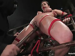 Mia Bangg is tied and gagged in the dungeon where her hangman sprays her nipple-clamped tits. He asks if that babe wants to acquire fucked and that babe does, but 1st he gives her a little greater amount pang by pulling tight the rope that splits her pussy lips and smacks her pussy in advance of using a sextoy on her.