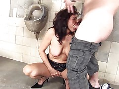 She's a impure whore and does everything a man asks her. Here this babe is, in an abandoned public toilet sucking this chap and then licking his anus in advance of that chap fucks her from behind. She's a cougar that enjoys a fine impure fuck and probably will have a fun his sperm too so stick with us and watch this wench in full action