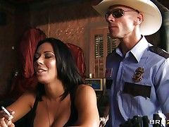 This lustful policeman finds a nice milf in a bar and when that hottie sees him that hottie grabs him by the collar and starts getting horny. This guy takes her big hawt boobs out squeezing and kissing 'em and after that grabs this whore by the neck and gives her his cock. See her as that hottie sucks his dick with pleasure, is that hottie going to get some spunk?