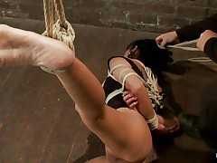 Berreta James is a dark brown milf with large pantoons who likes being hogtied. Watch her as she stands immobilized on the floor with her leg hanging up. Hear her moaning and screaming with immense enjoyment as a man in a tuxedo comes and begins arousing her, moving a vibrator over her love button and her hairless pussy.