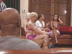 The couples gathered together in a room and the men sit quietly as their wife talked about sex and how they should fuck. A fat Chinese prick is being interviewed and his opinion is that this stuff is just like dating. Well now, let's leave 'em to talk as we enjoy how those nasty blonde snatches have some fun.