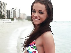 A very hot brunette hair meets a man at the beach and after talking for a little during the time that this hottie takes him back to her hotel room where before u know it she's topless, showing off her wonderful bumpers and engulfing his fat dick. Will this hottie suck his 10-Pounder lengthy enough for him to cum all over her pretty young face?
