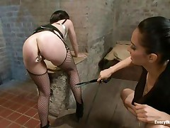 Do u have a fun seeing such a pretty ass filled with an anal plug and spanked by some other hawt brunette? These whores are giving us quite a show and the punished one, with stockings seems to have a fun it a lot. They know that we are watching each and each move so these brunettes are giving their superlatively good in what they do.