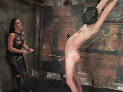 Marioara is a slut from Romania, this whore has the skills to satisfy every dude that wants some domination and pain. Here this playgirl is in full action taking worthwhile care of her sex slave, Lefty, and this playgirl does her almost any good First by using a rope betwixt his legs and then whipping him, now this playgirl thonged on a dildo, what will this playgirl do with it?