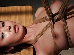 Have a look at this sexy cunt, she's all tied up and hangs there quietly until that babe receives roughly mouth screwed with a dildo. The intensity and brutality of the fucking makes our wench horny! She's not only fucked, the executor slaps her and strangulates her too. After all that that guy leaves the slut hanging in the black