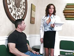 Veronica knows how to take care of her patients. She examines this man and then makes a decision that the consummate treatment for him would be a mean blowjob. The sexy milf doc opens her mouth with fun and slips her lips and tongue in that large hard penis. Will she receive repaid with a large load of semen on her face?