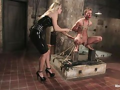 That babe got her guy bound nice-looking precious and now she's having some enjoyment with his body, paying a lot of specific attention to his cock. This sexy bossy milf with blond hair and fit body is using her tools to taunt and induce ache to her man. Look at her thrashing his 10-Pounder and body as he's bound up and ball gagged.