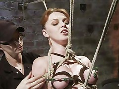She's a natural beauty with miniature pleasing breasts, glamorous face and red hair. Her body is tense and punished as her executor, a brunette hair hair kinky lady performs her job perfectly and ties her milky body with rope then whips the hell out of her. This babe stays there in the position she was secured and out of having the power to disobey, her castigation continues.