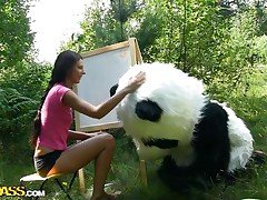 Mr. Panda is outside in the centre of nature and the thin brunette chick that's with him wants to prove him what an artist this chick is. Well, this chick may not be fine at painting but this chick surely knows how to make him cheerful by engulfing his large panda cock. Stay with 'em and have a pleasure the wilderness of the forest and much more