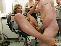 See this cute milf getting punished for all her sins. This Latin sweetheart hottie with large tits and a shaved soaked crack has the time of her life. Mr. Pete's friends are there to see her groaning with pleasure and ache as this chab fucks her soaked vagina hard. She enjoys both guys and babes taking advantage of her.