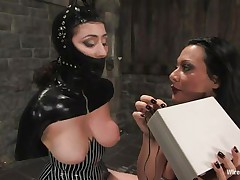 Sandra is a Romanian whore, this babe fulfills her dream as a bitch goddess and we get to see her doing what this babe can't live without most. With an obedient, bound up sex slave in front of her Sandra does her life time passion and punishes the chick. This babe uses electric shocks and then a stick on those hawt haunches and sexy ass