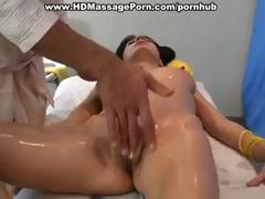 Hot brunette receives oiled up for a priceless massage and receives screwed