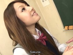 Hawt dark brown hair student Ria Sakurai receives exposed for school principal after the classes and receives her twat stimulated by marital-device in advance of that playgirl gives head to him and other professors on her knees and getting banged hardcore in group sex session on the desk