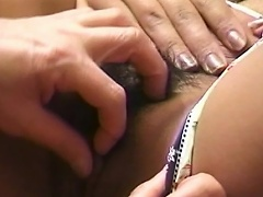Marvelous asian wench on sexy undies lets her snatch acquire licked by her...