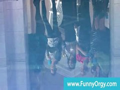 Upperclass rich lesbos in heels at a pool orgy