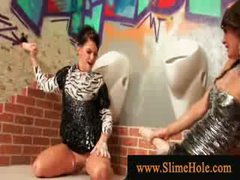 Nasty wet milfs overspread in bukakke ball cream playing with pecker from the gloryhole