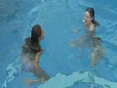 2 ultra hawt lezzies in advance of pool
