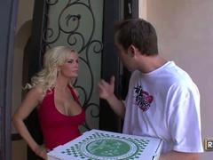 Pizza delivery boy gives busty blond diamond foxxx a shock