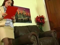 Boss hammers his horny redheaded secretary