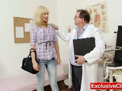 Blonde paris visits nasty old gyno doctor to have her cookie examined