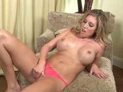Buxom Samantha Saint strokes her clean cookie