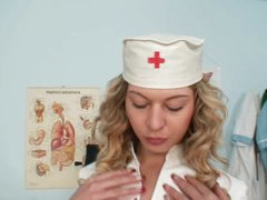 Indecent nurse Vanesa masturbation at gyno clinic